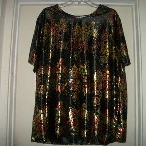 PRETTY BLAIR METAL FLOWERS COLORS BLOUSE 3X